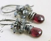 Garnet Earrings Sterling Silver, January Birthstone Jewelry, Red Gemstone Labradorite Cluster Earrings Handmade, aubepine