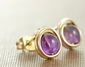 Amethyst Post Earrings Wrapped in 14k Gold Fill, February Birthstone Earrings, Purple Stone