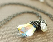 Opal Crystal and Pearl Necklace, Sterling Silver Wire Wrapped Pendant Handmade, February Jewelry