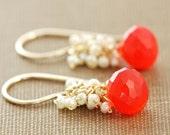Bright Orange Gemstone Earrings with Seed Pearl Clusters, Gold Dangle Earrings