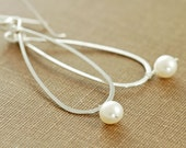 Pearl Teardrop Earrings Sterling Silver Hoops, Metal Handmade Dangle, aubepine