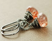 Sunstone Earrings Wrapped in Sterling Silver, Gemstone Dangle Earrings, Handmade, Fire Glow
