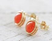 Orange Post Earrings, 14k Gold Fill Tangerine Jade Gemstone, Handmade Stud Earrings, aubepine