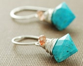 Turquoise Sunstone Earrings Wrapped in Sterling Silver, December Birthstone, Handmade