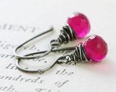 Raspberry Quartz Earrings Wrapped in Sterling Silver, Pink Gemstone Dangle Earrings, October Birthstone Jewelry, aubepine