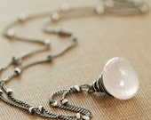 Rose Quartz Necklace Sterling Silver Pink Gemstone Pendant Wire Wrapped Handmade