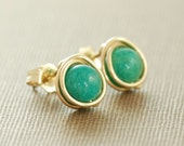 Emerald Green Post Earrings,14k Gold Fill Gemstone Earrings, Wire Wrapped Handmade Jewelry, aubepine