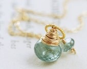 March Birthstone Jewelry Moss Aquamarine Necklace Wrapped in 14k Gold Fill, Teal Green Gemstone Pendant - aubepine