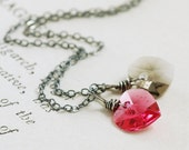 Pink Gray Heart Necklace in Sterling Silver, Valentine's Day Jewelry, Swarovski Crystal Heart Pendant