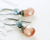Sunstone London Blue Topaz Earrings Sterling Silver, Teal Blue Peach Gemstone Dangle, aubepine