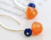 Orange Blue Gemstone Gold Earrings, Carnelian Lapis Lazuli 14k Gold Fill Wire Wrap, aubepine