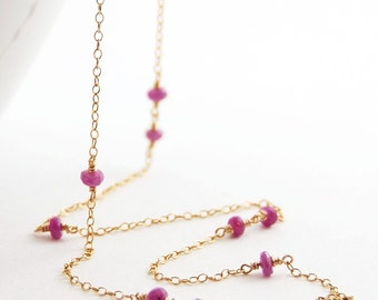 Pink Sapphire Gold Necklace, Gemstone Layering Necklace, September Birthstone, Long Delicate, aubepine