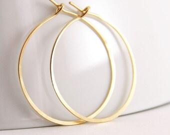 Gold Hoop Earrings, 14k Gold Fill,  Handmade Jewelry, 1 Inch Hoops