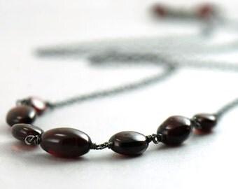 Dark Red Garnet Necklace in Sterling Silver, January Birthstone Jewelry, Handmade Garnet Necklace