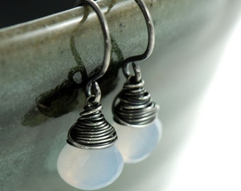 Gemstone Earrings Chalcedony Oxidized Sterling Silver Wire Wrapped Natural Handmade