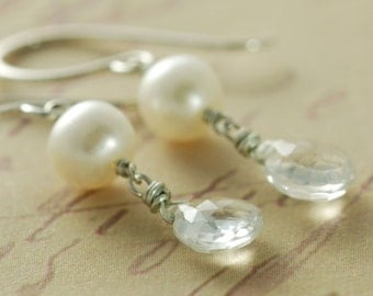 Topaz Pearl Earrings Sterling Silver, Bridal Jewelry, Dangle Wire Wrapped Handmade