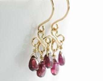 Red Garnet Chandelier Earrings 14k Gold Fill, January Birthstone Jewelry, Gemstone Dangle Earrings, Handmade Winter Fashion