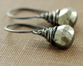 Wire Wrapped Pyrite Earrings Sterling Silver, Bohemian Jewelry, Black and Gold Earrings