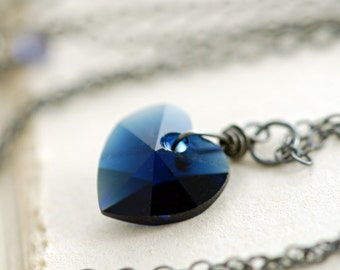 Sapphire Blue Heart Necklace, Sterling Silver Crystal Pendant Necklace, Navy Swarovski Crystal, aubepine
