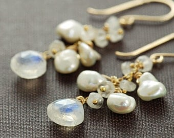 Moonstone Pearl Earrings in 14k Gold Fill, Gemstone Dangle Earrings Handmade, aubepine