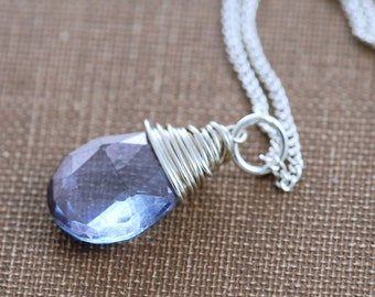 Denim Blue Gemstone Necklace Sterling Silver, Handmade Pendant, Wire Wrapped
