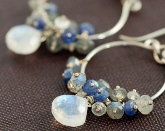 Silver Chandelier Earrings with Moonstone Sapphire Labradorite Clusters, Blue Gray Gemstone Dangle Earrings, aubepine