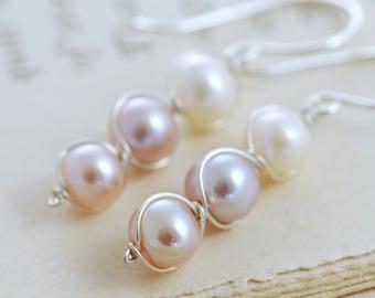 Pastel Pearl Earrings Sterling Silver, Bridesmaid Jewelry, June Birthstone, Delicate Pearl Dangle Earrings, aubepine