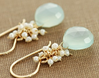 Seafoam Chalcedony Seed Pearl Earrings, Handmade Gold Dangle Earrings with Pearl Clusters, March Birthstone Jewelry, aubepine