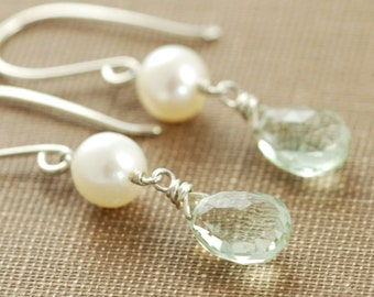 Green Amethyst and Pearl Drop Handmade Earrings, February Birthstone Gemstone Earrings