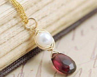 Garnet and Pearl Necklace 14k Gold Fill, Red Gemstone Pendant Necklace, January Birthday, Handmade