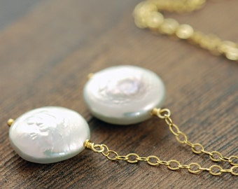 Pearl Lariat Necklace 14k Gold Fill, Handmade Pearl Jewelry, June Birthstone