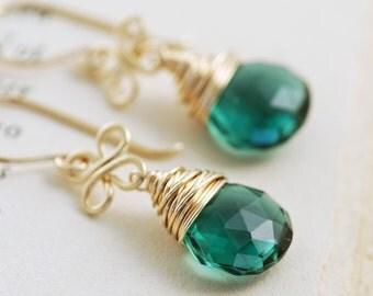 Emerald Green Quartz Earrings 14k Gold Fill Clovers, March Jewelry, Gemstone Dangle Earrings