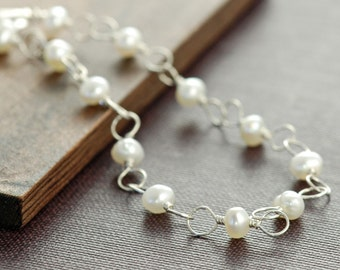 Sterling Silver Pearl Bracelet, Wire Wrapped Pearl Jewelry, aubepine