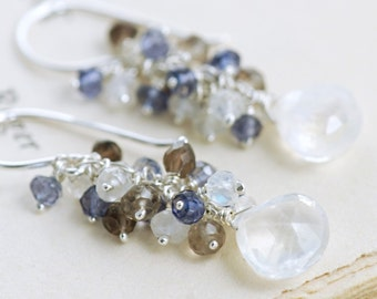 Sterling Silver Moonstone Earrings, Gemstone Cluster Earrings Smoky Quartz Iolite, Blue White, aubepine