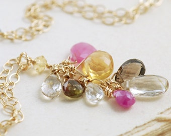 Gemstone Cluster Necklace 14k Gold Citrine Pink Sapphire Quartz, aubepine