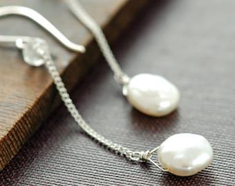 Dangly Pearl Earrings Sterling Silver Topaz Handmade, June Birthstone Earrings, aubepine