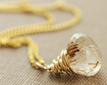 Gold Rutilated Quartz Necklace, 14k Gold Wire Wrap Gemstone Pendant Handmade, aubepine