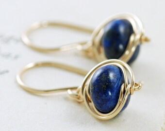 Navy Blue Lapis Lazuli Earrings, 14k Gold Fill Dangle Earrings, Wire Wrapped Gemstone Handmade, aubepine