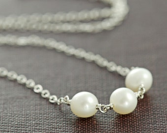 Sterling Silver Pearl Necklace, Delicate Silver Necklace, June Birthstone Jewelry