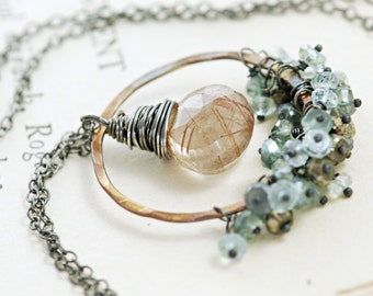 Copper Gemstone Pendant Necklace, Sterling Silver, Rutilated Quartz Teal Quartz Aquamarine Pyrite Clusters