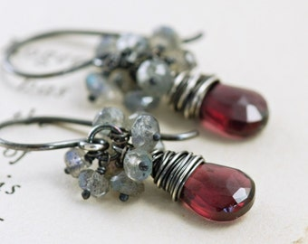 Garnet Earrings Sterling Silver, January Birthstone Jewelry, Red Gemstone Labradorite Cluster Earrings Handmade, aubepine
