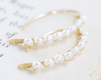 Wire Wrapped Pearl Earrings 14k Gold Fill, Bridal Jewelry, June Birthstone Earrings