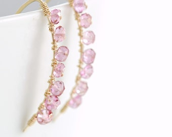 Wire Wrapped Pink Gemstone Earrings, October Birthstone Jewelry, Gold Quartz Earrings, aubepine