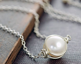 Wire Wrapped Pearl Necklace Sterling Silver, aubepine