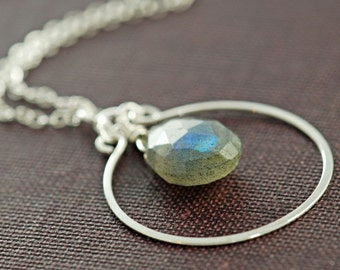 Sterling Silver Labradorite Necklace, Gray Blue Gem Stone Pendant