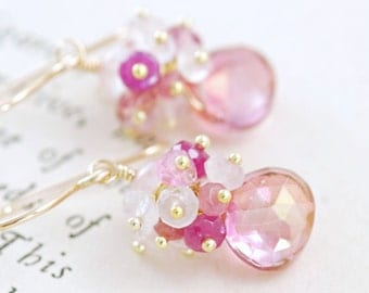 Pink Gemstone Cluster Earrings 14k Gold, October Birthstone, Delicate Pastel Spring Jewelry, Pink Sapphire Moonstone Earrings