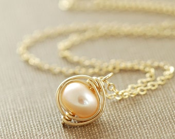 Pearl Necklace Wrapped in 14k Gold Fill, June Birthstone Jewelry, Blush Pendant Necklace Handmade, aubepine
