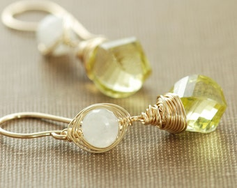 Lemon Yellow Drop Earrings With Moonstone, 14k Gold Fill Dangle Earrings, Spring Fashion Jewelry