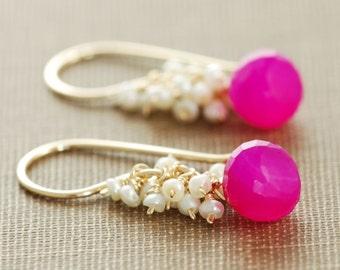 Neon Pink Gemstone Earrings, Gold Dangle Earrings With Seed Pearl Clusters