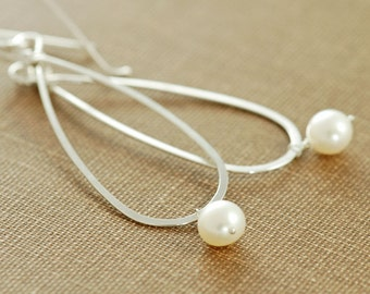 Pearl Teardrop Earrings Sterling Silver Hoops, Metal Handmade Dangle, aubepine